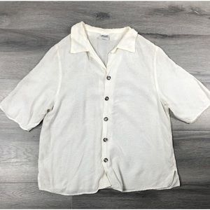 CP Shades S blouse button down floral textured